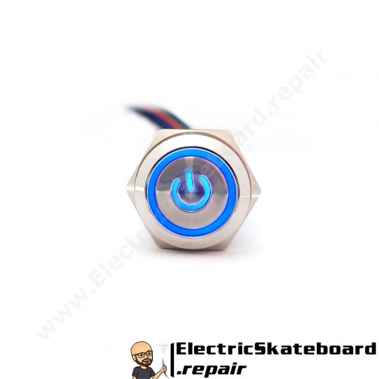 Metal latching pushbutton 16mm BLUE LED