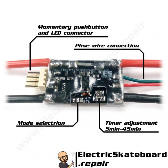 Push to start e-sk8 switch with LED pushbutton